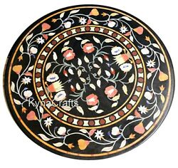 Antique Pattern Dining Table Top Black Round Marble Center Table For Decor 40