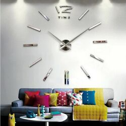 Wall Clock Decal Sticker Huge Home Large Room Watch Decor Abstract Living Room