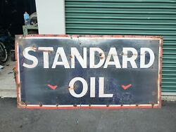 Single Sided Standard Oil Porcelain Sign Unmarked 8ft X 4ft Original Authentic