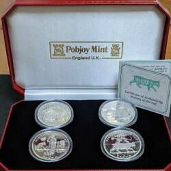1997 Isle Of Man Crown Silver Coin Set Of 4 History Of The Cat Silver Proof Coin