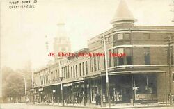 Il, Rushville, Illinois, Rppc, Business Section, West Side Square, Storefronts