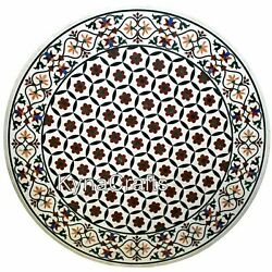 Round White Marble Dining Table Top Marquetry Art Center Table For Hotel 50 Inch