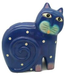 Vintage Ceramic Cat Germany 9.25quot; Tall Blue with Big Eyes and Polka Dots RARE