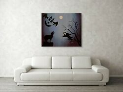 Halloween Dark Haunted Oil Painting For Halloween Party And Wall Decor