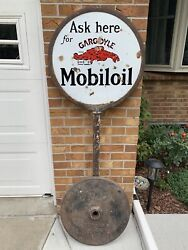 Base Only Original 1920and039s 1930and039s Vintage Socony Mobiloil Gargoyle Sign Gas Oil