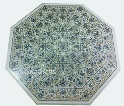 White Stone Dining Table Top Mop Stone Inlaid Work Patio Table For Decor 42 Inch