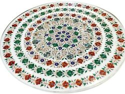 Semi Precious Stone Inlay Work Center Table White Stone Dining Table Top 42 Inch