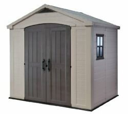 Keter Factor 8x6 Large Resin Outdoor Shed For Patio Furniture, Lawn Mower, And B