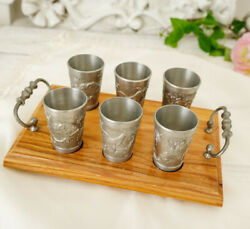 Set Of Six Pewter Glasses On A Wooden Tray Tin Germany Hunting Vintage Unique