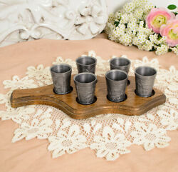 Set Of Six Old Pewter Glasses On A Wooden Tray Pewter Germany Vintage Beautiful