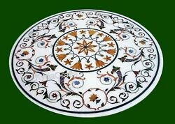 Round Marble Dining Table Top Antique Pattern Office Meeting Table For Home 42