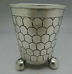 17th Century German Berlin Rare Solid Silver Fish Scale Ball Footed Cup