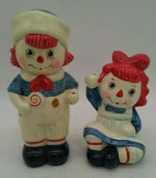 Raggedy Anne And Andy Doll Figurines Vintage 1972 Fitz And Floyd Set Lot Of 2