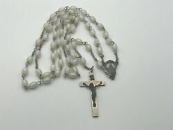 Older Vintage Antique 24 Rosary Italy Beautiful Pearl Like Beads B8
