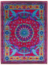 Vintage Geometric Hand-knotted Carpet 9'2 X 12'0 Traditional Wool Area Rug