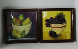 Home Interior Set Of Two Fruit Pictures Grapes And Pears Wood Frames