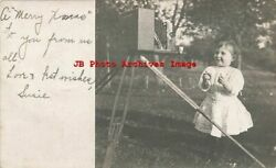 Me, Saco, Maine, Rppc, Young Girl Taking Selfie With Camera On Tri-pod,christmas
