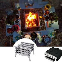 Bbq Stainless Steel Camping Folding Portable Barbecue Grill Wood Stove Bonfire
