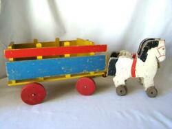 Vintage Primitive Painted Wood Horses And Wagon Pull Toy, Toy Kraft, Wooster Ohio