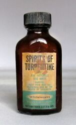 Whiteworth Vintage Bottle Spirits Of Turpentine 2 Fl Oz 6836-a Brown Glass And Lid