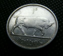 1941 Irish Silver One Shilling Coin Old Ireland 1s Scarce Year Nice Example