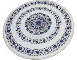 Round Stone Dining Table Top Lapis Lazuli Stone Inlaid Work Center Table 42 Inch