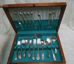Antique Wm Rogers And Son Is April Silver Plate Flatware W/box-55 Pieces