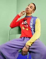 Eysus Long-sleeved T-shirt Mens Asos Design Long Sleeve With Disney Mickey Mouse