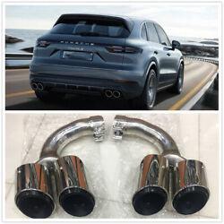 Car Dual Tail Exhaust Muffler Pipe Tips For 2018 Porsche Cayenne Stainless Steel