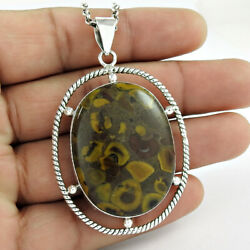 925 Sterling Silver Jewelry Oval Shape Chinese Writing Gemstone Pendant C51