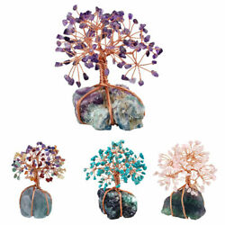 Natural Money Tree Wrapped On Fluorite Cluster Base Bonsai Sculpture Figurine