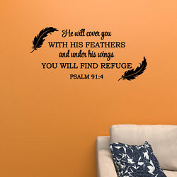 He Will Cover You With His Feathers Bible Verse Wall Decal Scripture Psalm 914