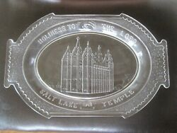 Holiness To The Lord Salt Lake Temple Glass Platter Antique Mormon 13x8