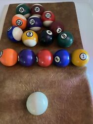 Vintage Replacement Pool Ball Standard Billiards Size Solids And Stripes And Cue