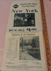 Orig 1902 8x19 Broadside Erie Railroad Err Nyc Subway Central Park Zoo Timetable