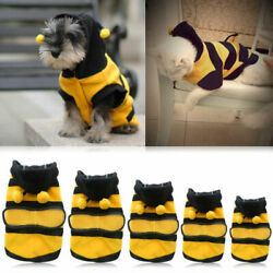 Hot Pet Dog Cat Puppy Warm Hoodie Coat Clothes Cute Bee Costume Apparel Outf.