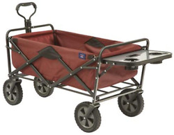 Maroon Metal Heavy Duty Grocery Utility Shopping Cart Collapsible Rolling Wheels