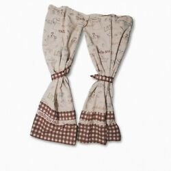 Better Homes And Gardens Curtains Kitchen 2 Panels Brown Plaid Cafe Au Lait Ties