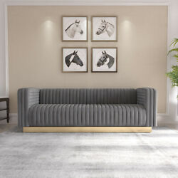 Three-position Flannel Sofa Golden Stainless Steel Square Bottom Frame Homes Us