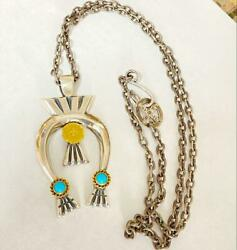 Goroand039s Gold Rope Turquoise Nageone Large Long Chain With Gold Metal Used