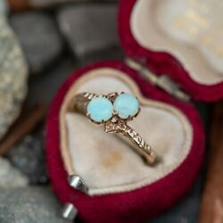 Antique Opal Toi Et Moi Ring, Natural Opal Cabochons 2 Pc 14k Yellow Gold Ring