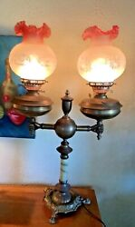 Antique Vtg Brass Jade Lamp Oil Electric Shades Brass Double Student Hands