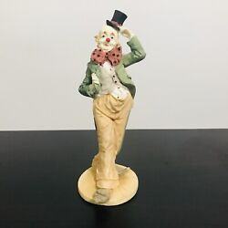 Vintage Clown Figurine Resin 8 Top Hat Big Bow Tie Pointy Shoes Red Nose