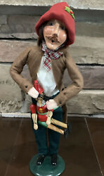 1996 Byers Choice Man Caroler With Wooden Pinocchio Puppet Marionette