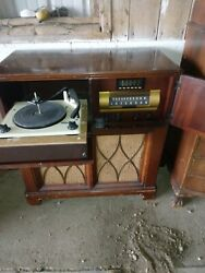 Rare Antique Victrola Rc-610c Record Player And Radio Cabinet 1947 Vintage Works