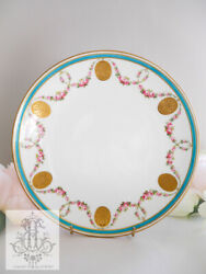 Minton Turquoise Blue And Hand-painted Rose Garland / Gold Medallion Platter