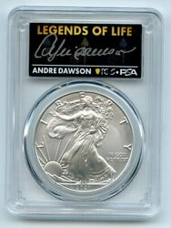 2021 1 Silver Eagle T1 Last Day Production Pcgs Ms70 Legends Life Andre Dawson