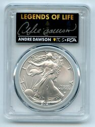 2021 1 Silver Eagle T2 First Production Pcgs Ms70 Legends Of Life Andre Dawson