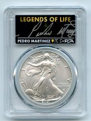 2021 1 Silver Eagle T2 First Production Pcgs Ms70 Legends Life Pedro Martinez