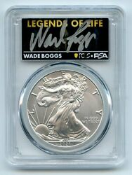 2021 1 Silver Eagle T1 Last Day Production Pcgs Ms70 Legends Of Life Wade Boggs